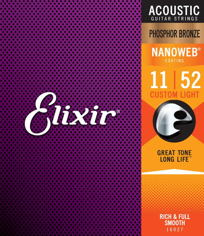 Elixir Nanoweb 11-52 Phosphor Bronze Acoustic strings