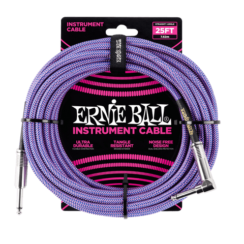 Ernie Ball 25ft Braided ST/RA- Purple
