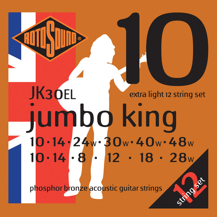 Rotosound Jumbo King Extra Light 12 String Acoustic Set