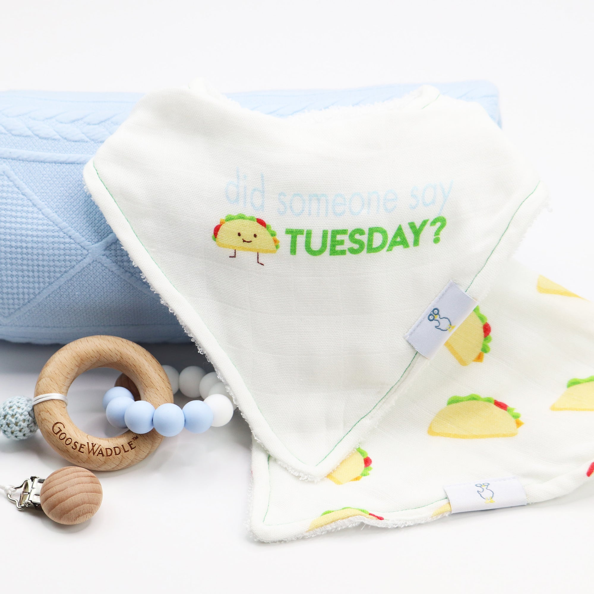 taco tuesday bib knit blanket and blue teether