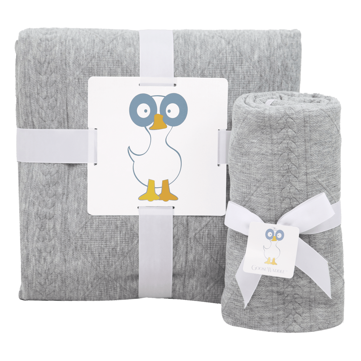 Mommy & Me Knit Blanket Set - Gray - GooseWaddle