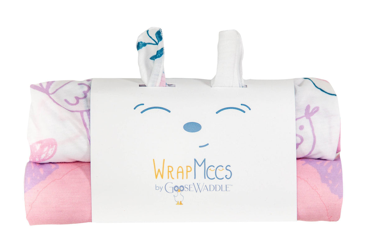 Wrap Mees 2Pk Receiving Blanket Kitty/Birds - Goosewaddle