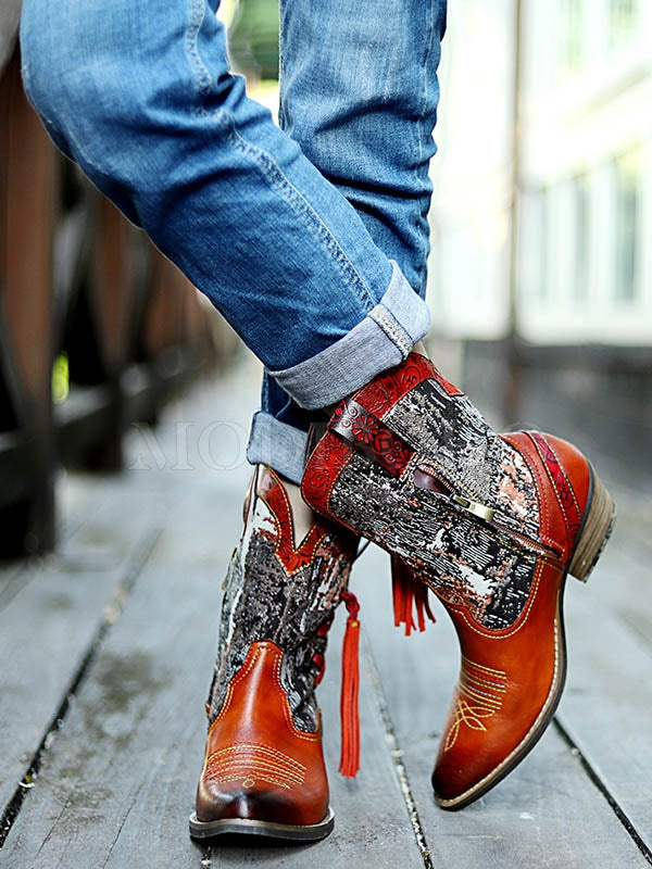 Genuine Cow Leather Bohemia Multicolored Low Heels Booties