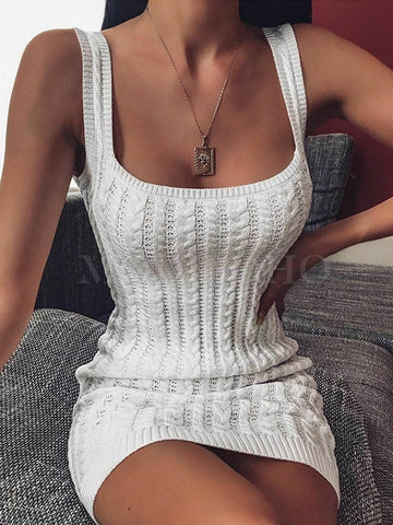 Hollow Off-the-shoulder Bodycon Sexy Mini Dress