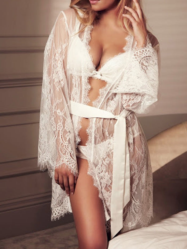 Lace See-through Bathrobe Sexy Lingerie