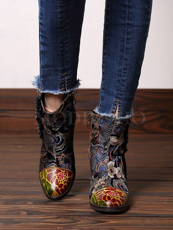 Vintage Printed Cow Leather Split-Joint Booties