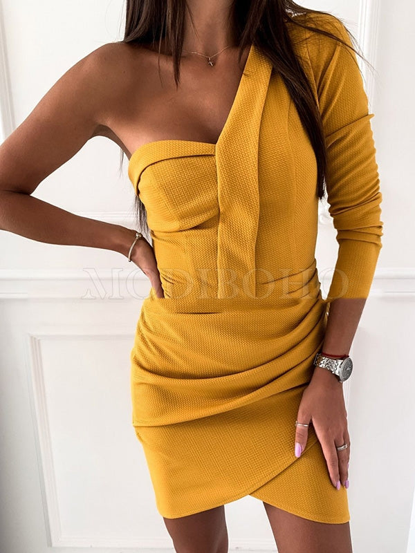 Sexy One-Shoulder Hip-Package Mini Dress