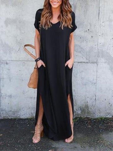 Solid Color Falbala V-neck See-Through Maxi Dress