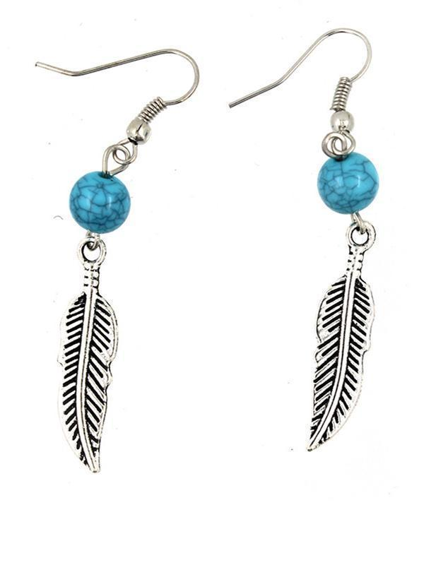 Bead&Leaf Pattern Turquoise Earrings Accessories