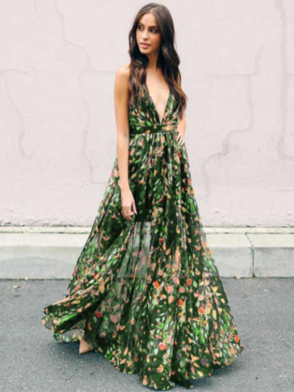 entire collection choose clearance replicas Bohemia Floral V Neck Backless Maxi Dress