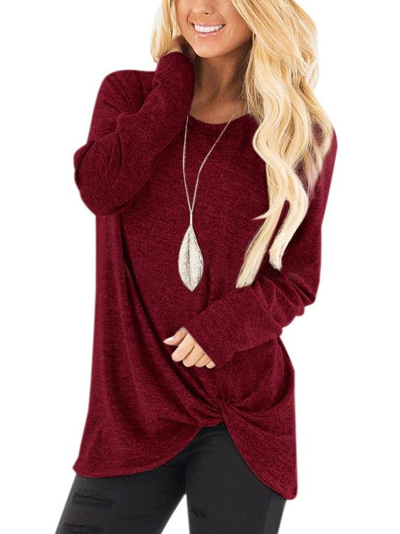 11 Colors Solid Round-neck Long Sleeves Outwear