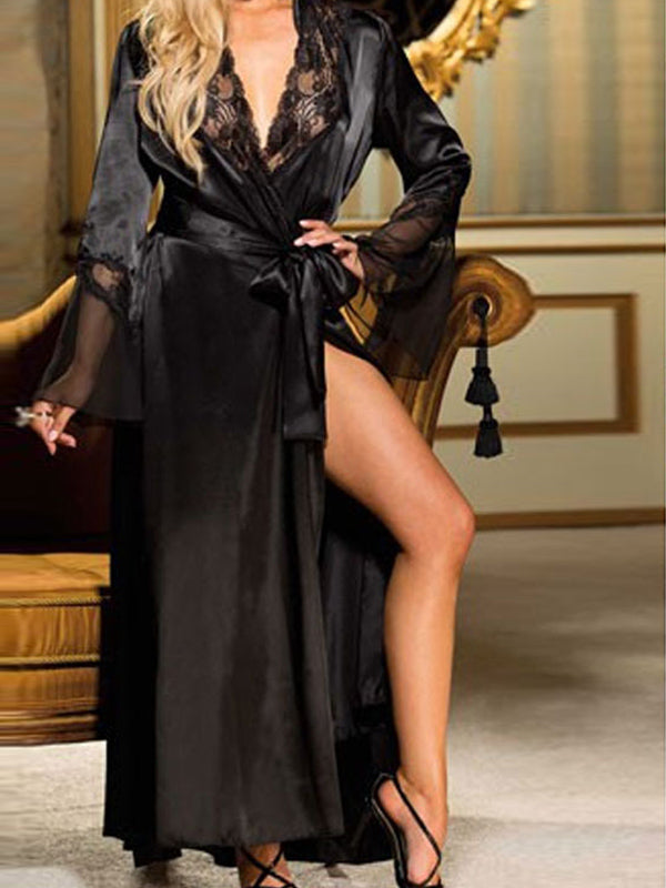 Solid Belted Long Sleeves Bathrobe Sexy Lingerie