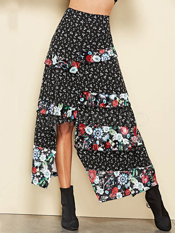 Sexy Floral Front Split With Tie Bohemia Long Skirt Bottoms