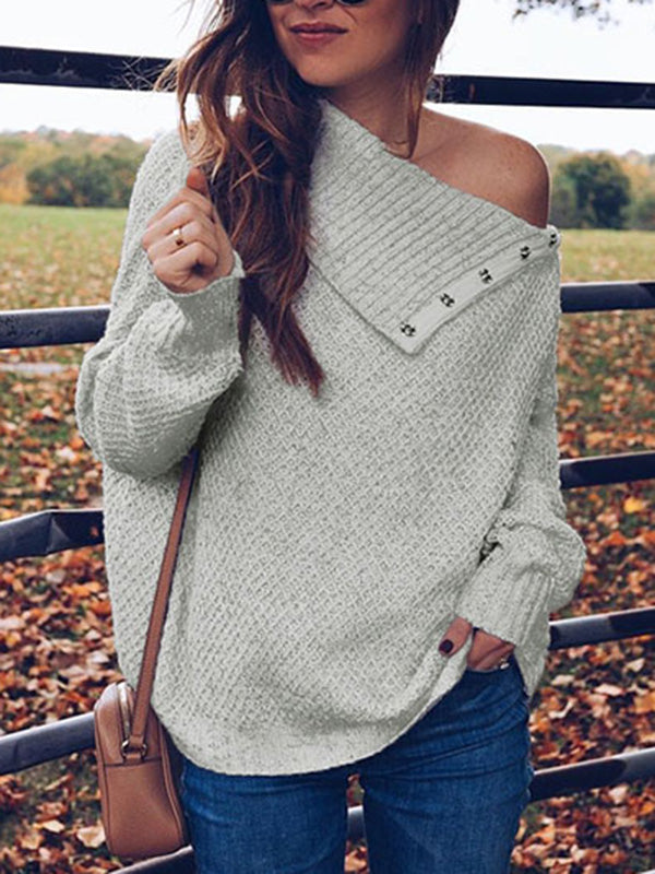 1dbe909a4cb580 Asymmetric Solid Color Long Sleeves Sweater Tops – modiboho