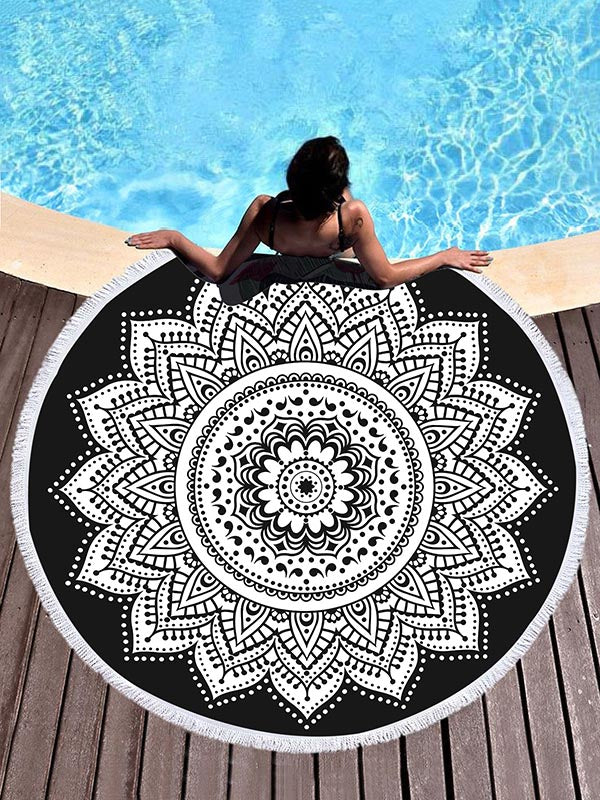 Black Background Lotus Flower Printed Beach Mats
