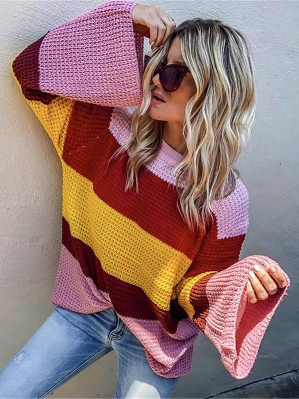 Striped Flared Sleeves Sweater Tops