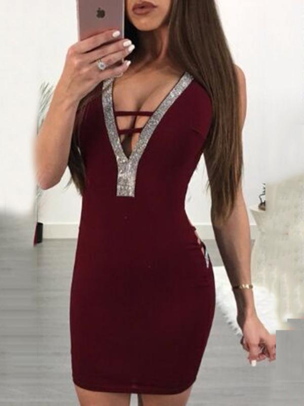 V-neck Backless Bodycon Mini Dresses