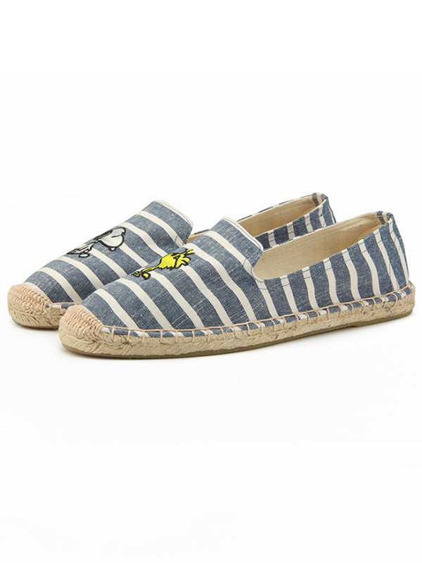 Striped Canvas Fisherman Flats
