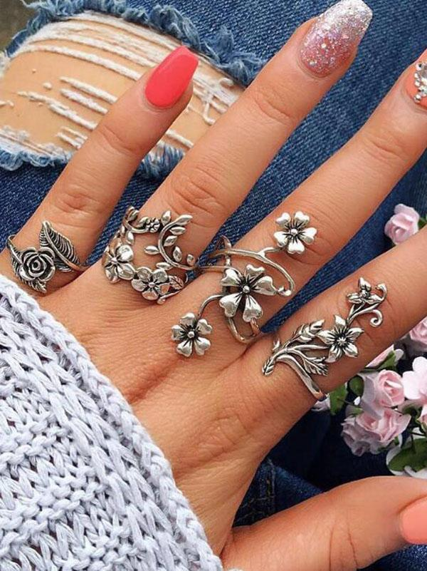 4pcs Vintage Rings Accessories