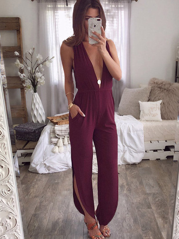 Fashion V-neck Casual Sleeveless Jumpsuit