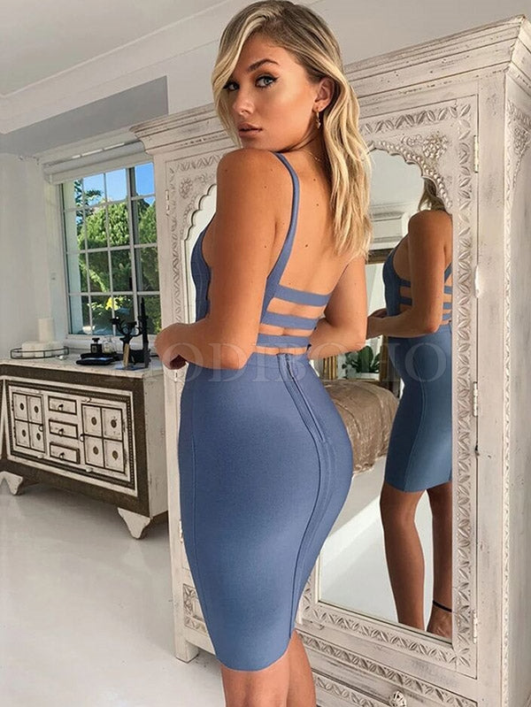 Sexy Solid Backless Condole Belt Dress