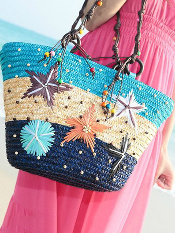 3 Color Single Shoulder Beach Grass Bag