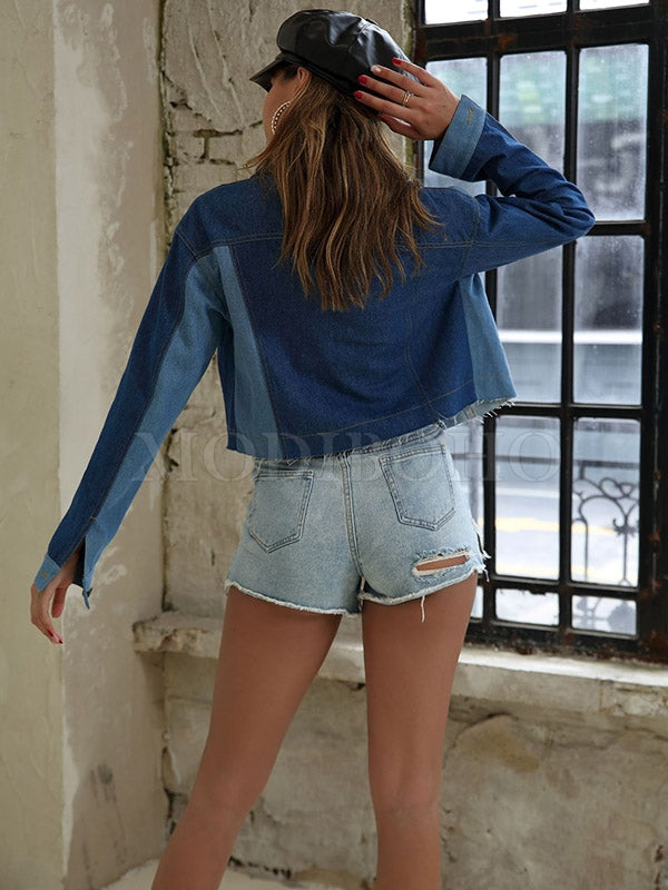 Personalized Color Matching Denim Coat