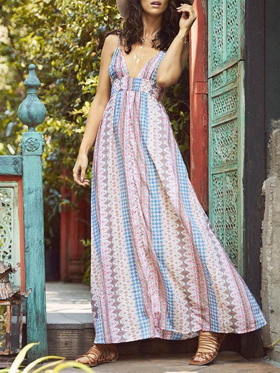 6301daab755 Bohemia Printed V-Neck Backless Dresses – modiboho