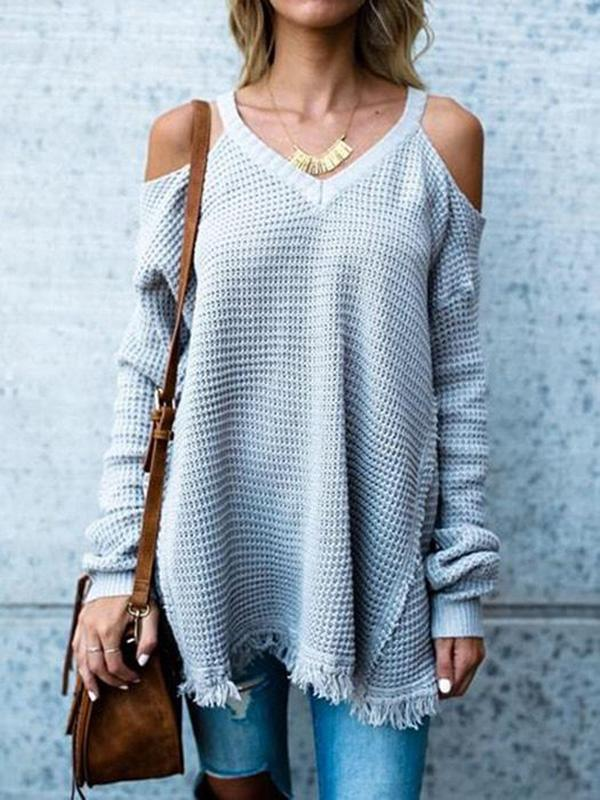 2 Colors Simple V-neck Sweater Tops