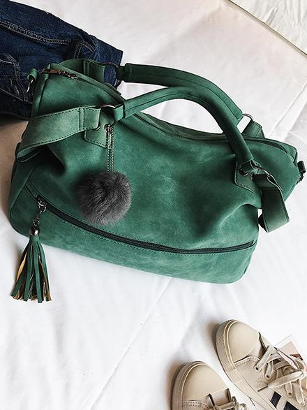 Solid Pompom Trimming Shoulder Bag