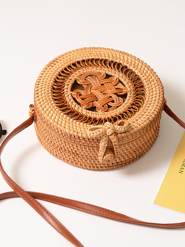 Hollow Rattan Knitting Bowknot Bohemia Bag