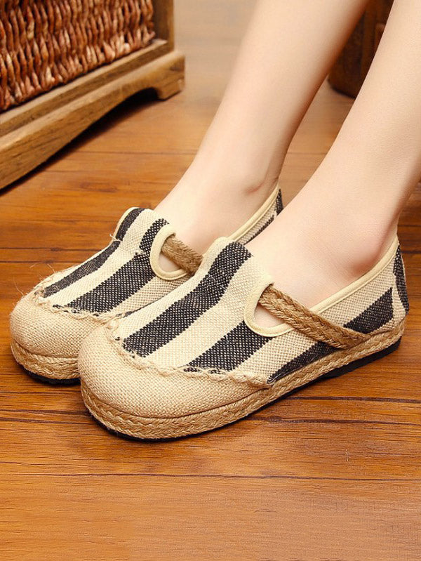 Linen Stripes Straw Shoes