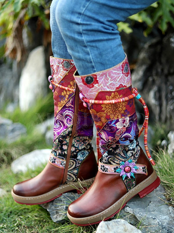 Genuine Cow Leather Bohemia Multi-Colored Mid-Calf Boots