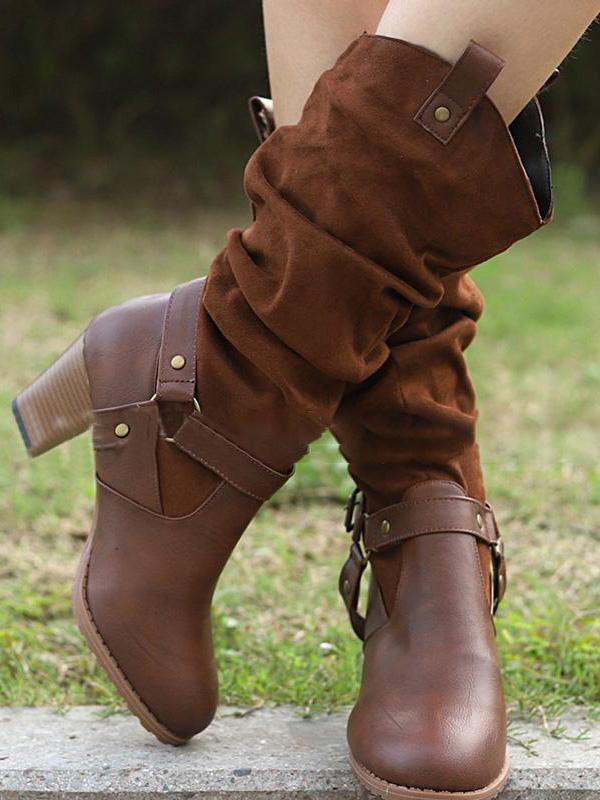 Solid Buckle Mid-calf Boots