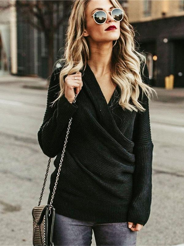 Off-the-shoulder V-neck Knitting Sweater Tops
