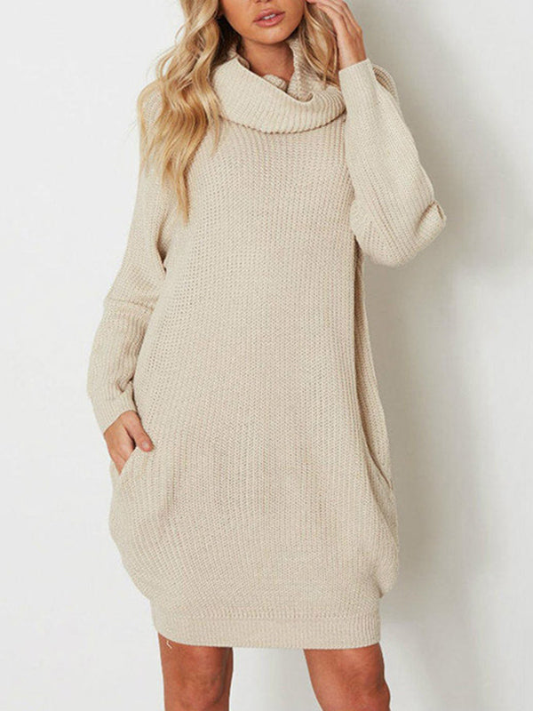 High Neck Solid Long Sleeves Sweater Tops