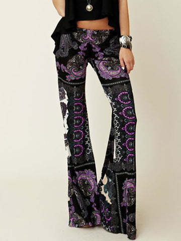 Fashion Vintage Floral Bell-bottoms Casual Pants