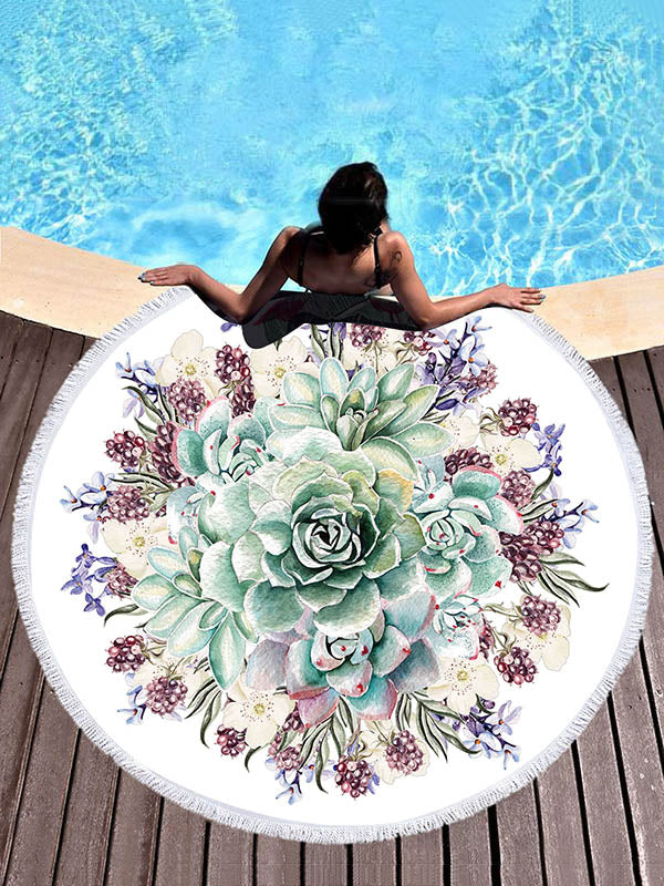 Superfine Fiber Flower Printed Beach Mats