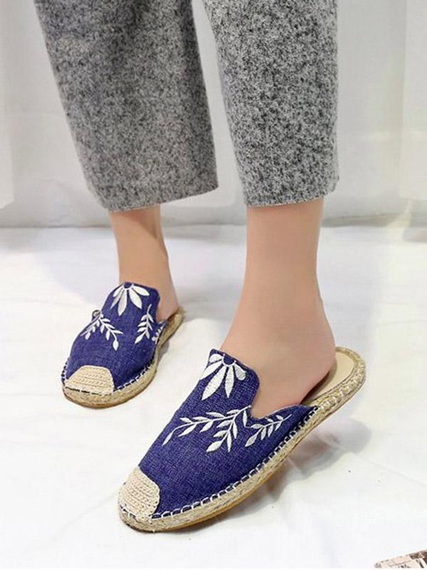 Line-soled Canvas Mules&Slides Shoes