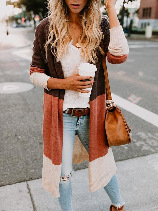 Long Sleeves knitting striped Cardigan Tops