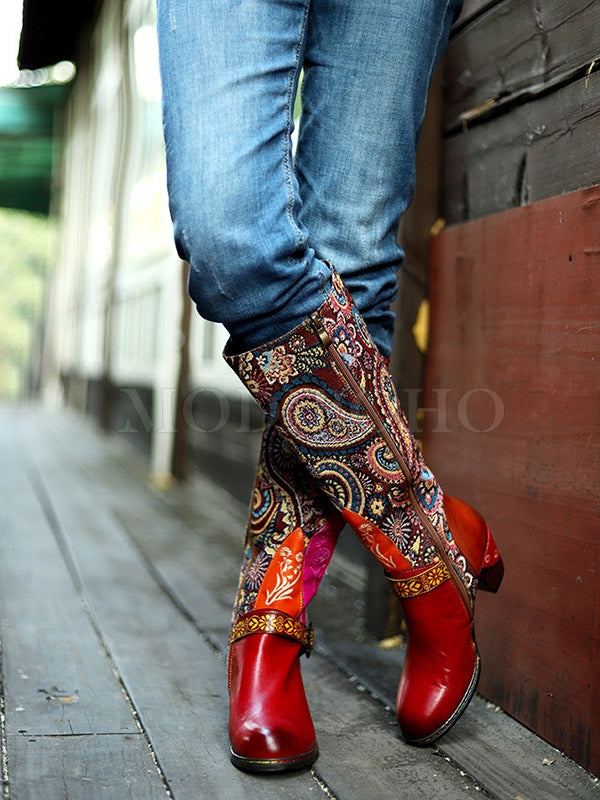 Bohemia Genuine Cow Leather Embroidered Mid Heel Knee Boots