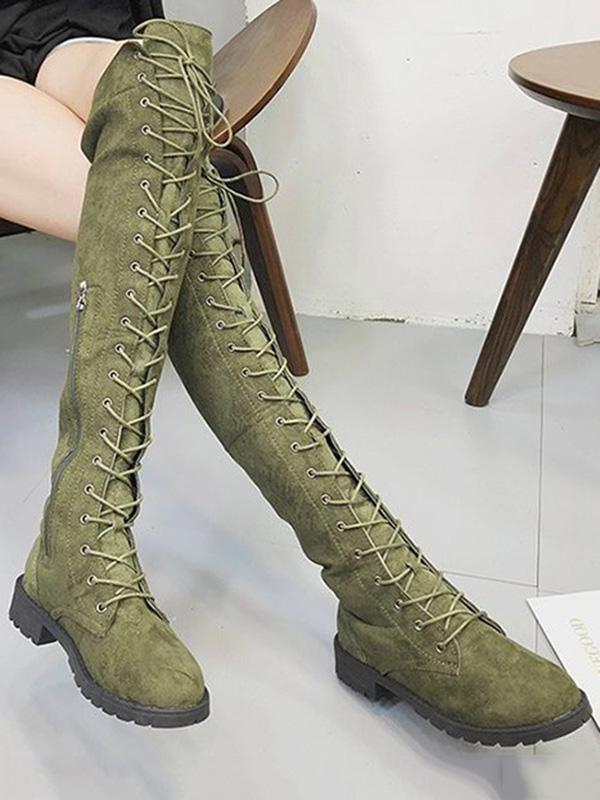 Solid Bandage Over-the-knee Boots