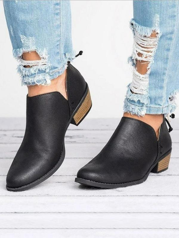 Solid Color Low Heel Booties