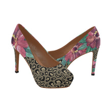 Load image into Gallery viewer, Flowers on Cheetah Print Women's High Heels (Model 044)