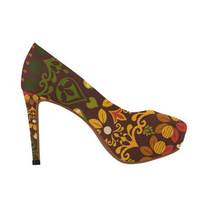 Green and Gold Indian Pattern Women's High Heels (Model 044)