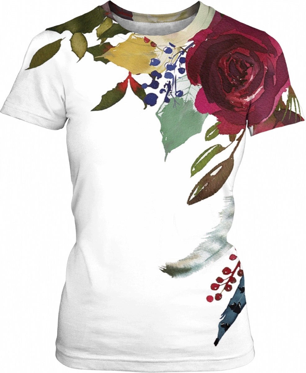 Feather Floral Ladies T-Shirt