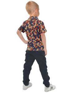 Aged Red, White, and Blue Camo Kids' Polo Tee