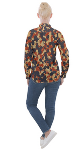Aged Red, White, and Blue Camo Women's Long Sleeve Pocket Shirt