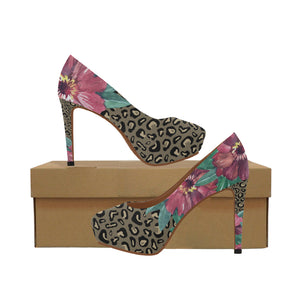 Flowers on Cheetah Print Women's High Heels (Model 044)