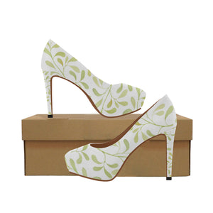 Green Pastel Watercolor Twigs Women's High Heels (Model 044)